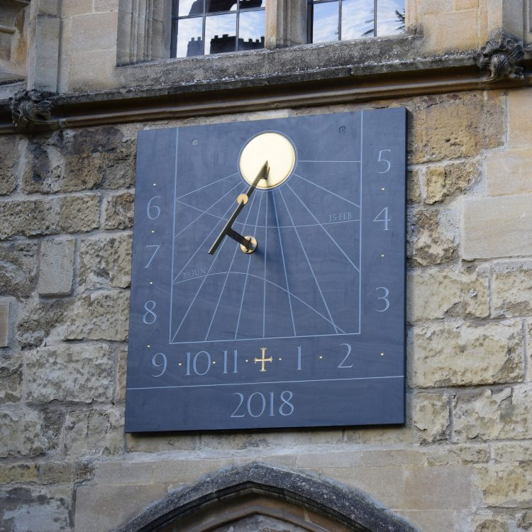 The sundial above the doors into the College Library