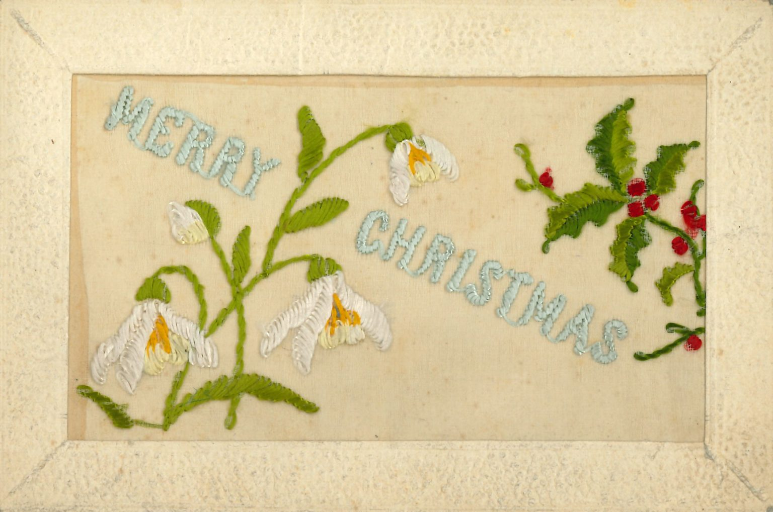 An embroidered Christmas card from World War I