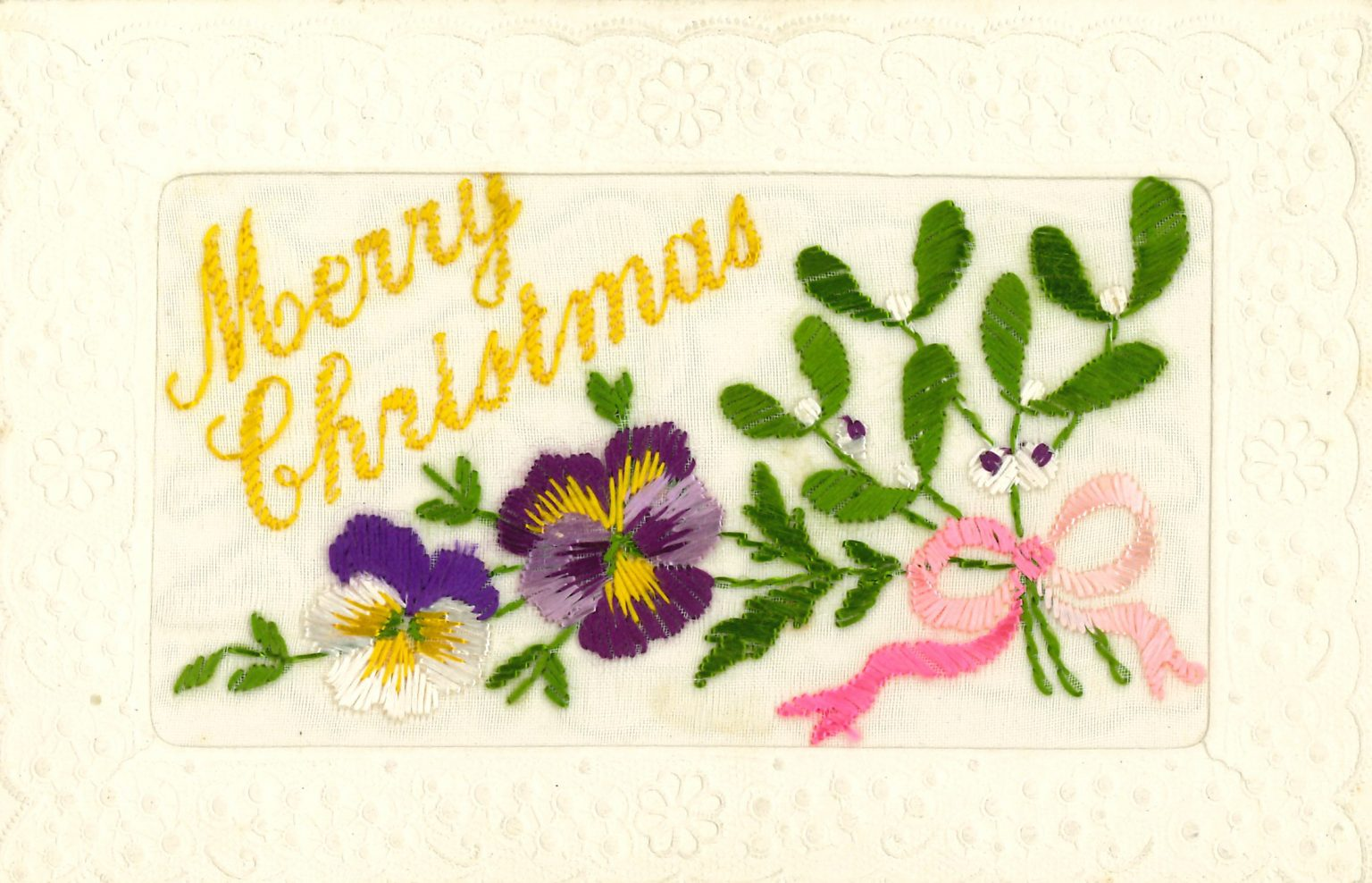 An embroidered Christmas card sent during World War I