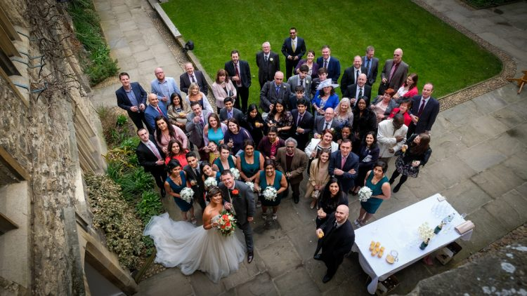 A wedding party in the College's Front Quad