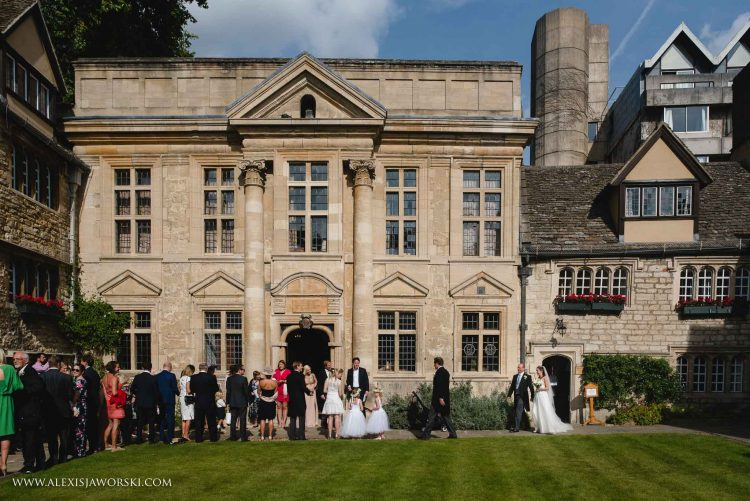 Wedding guests in front of the Chapel - photo by Alexis Jaworski