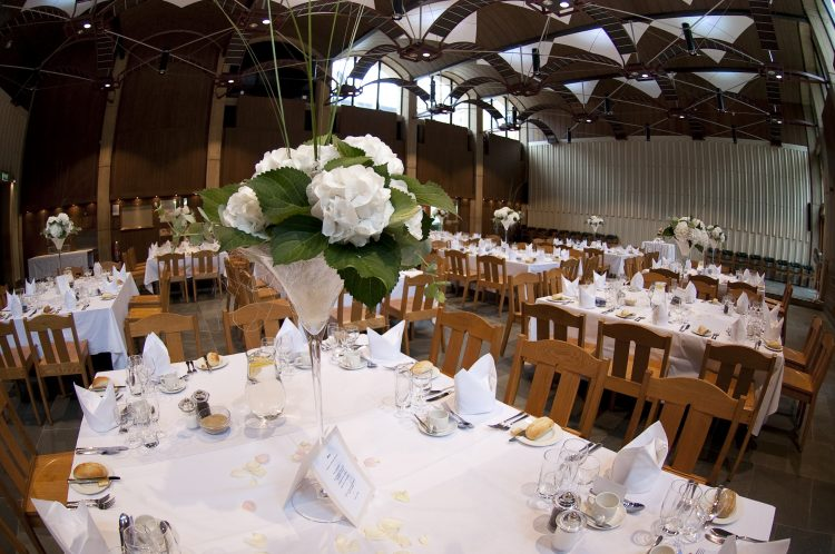 The Wolfson Hall, set for a wedding breakfast