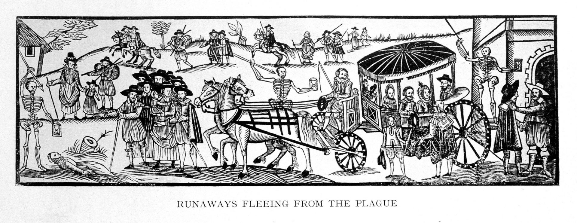 Print by H Goson of Oxford running from the plague in 1630